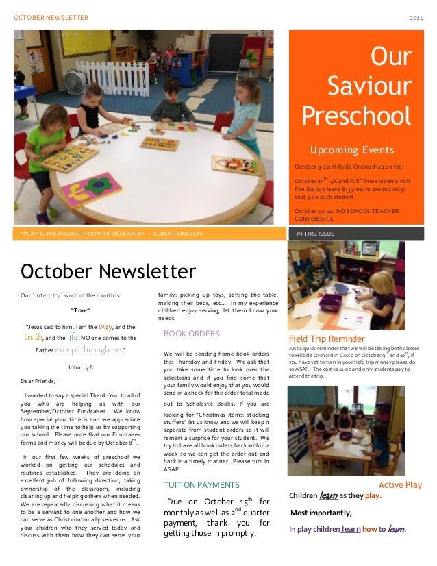 Preschool News And Parent Tidbits For October 2014