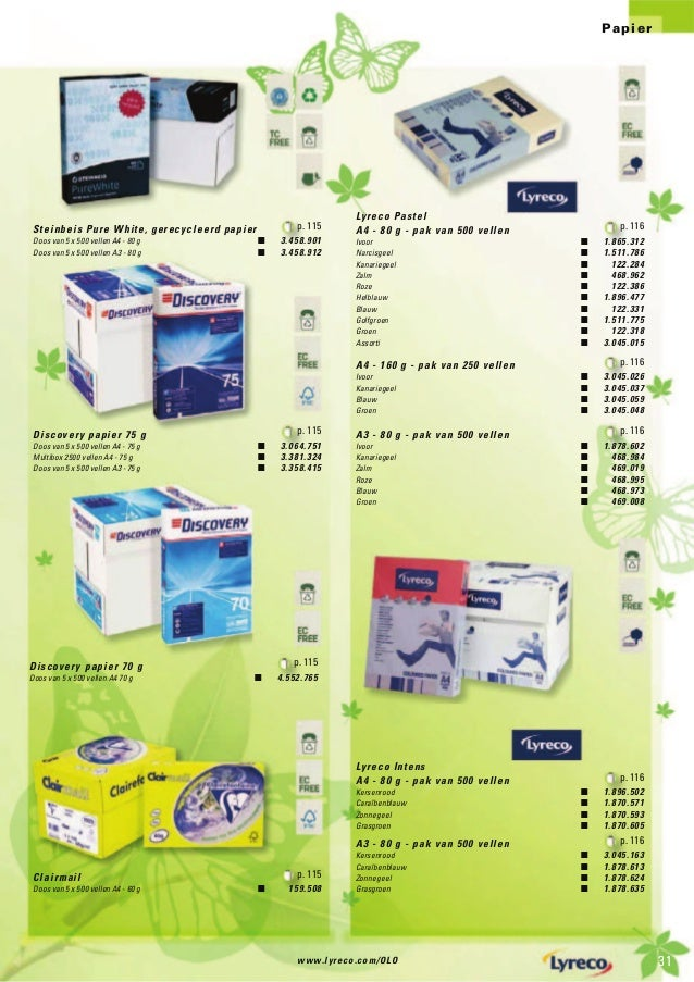 www.lyreco.com/OLO 3131 Papier Lyreco Pastel A4 - 80 g - pak van 500 vellen p. 116 Ivoor Q 1.865.312 Narcisgeel Q 1.511.78...