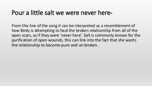 Pour a little salt we were never here- From this line of the song it can be interpreted as a resemblement of how Birdy is ...