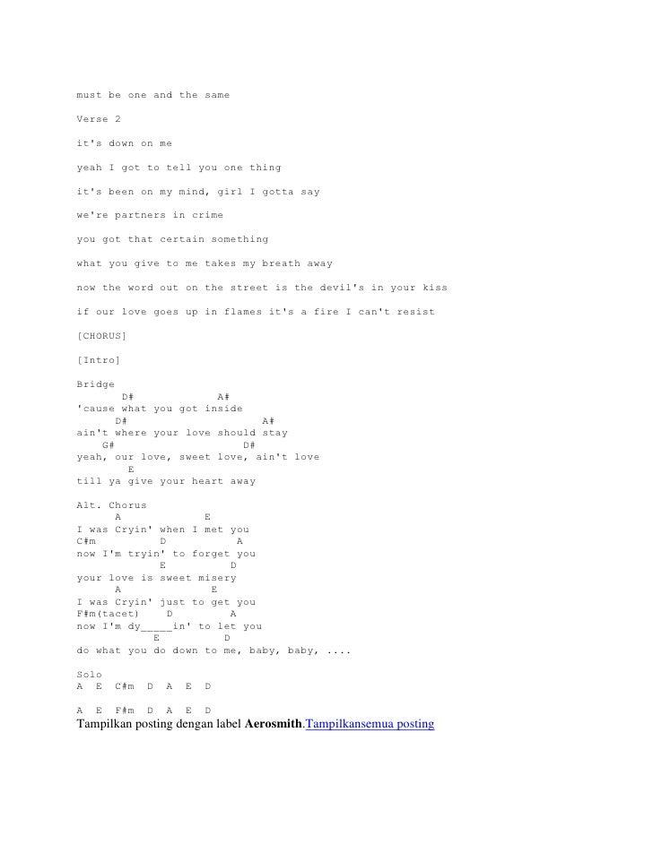 Lyric And Chord Guitar Aerosmith