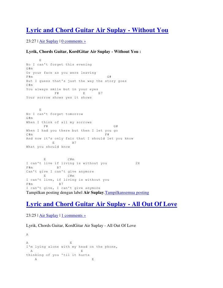 Lyric and chord guitar air suplay