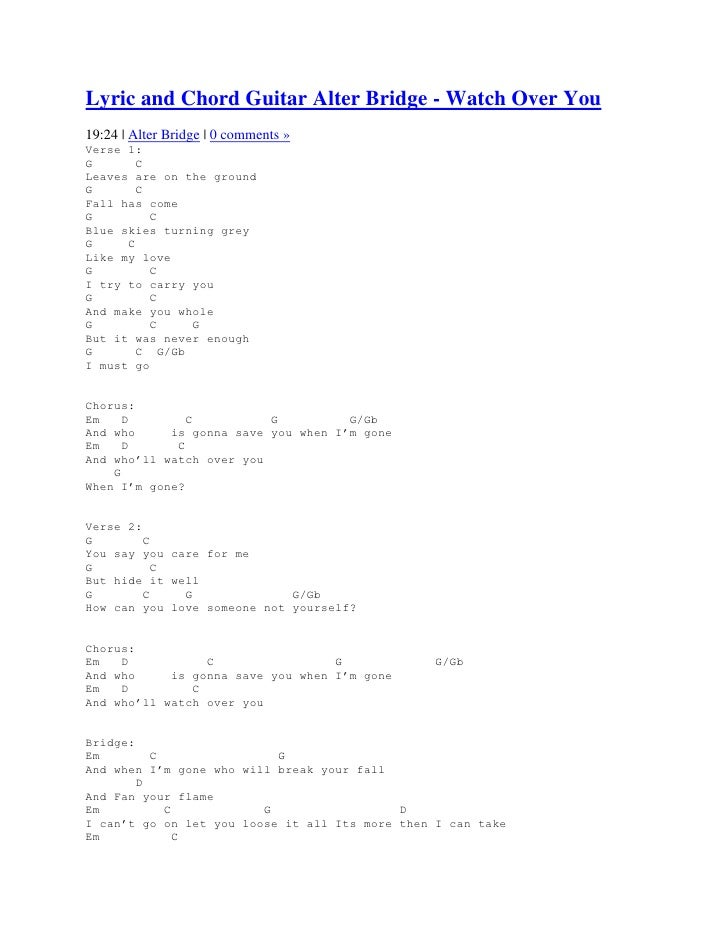 Lyric And Chord Guitar Alter Bridge