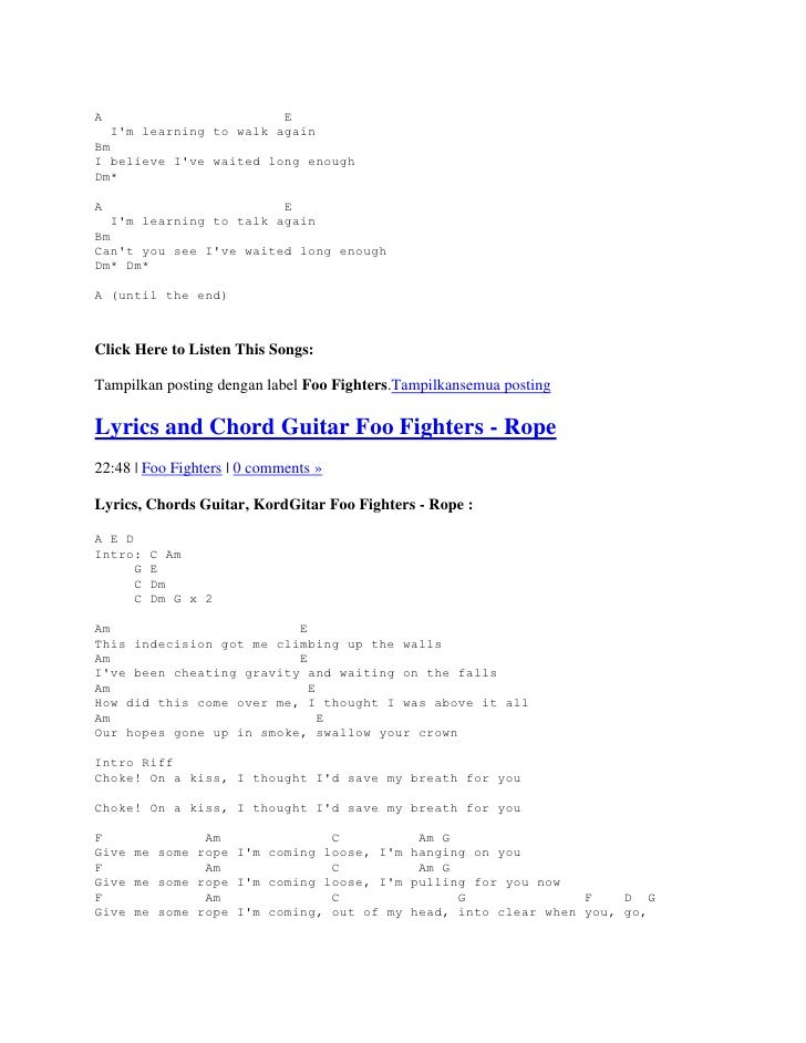 Lyric And Chord Guitar Foo Fighters