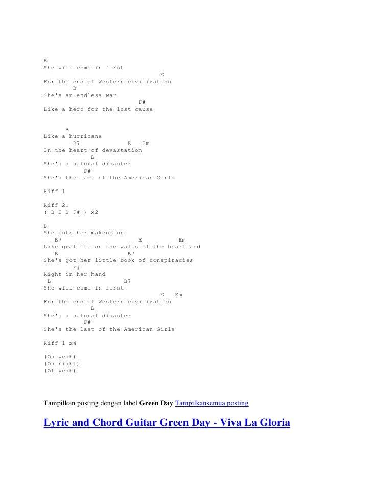 Lyric and chord guitar green day