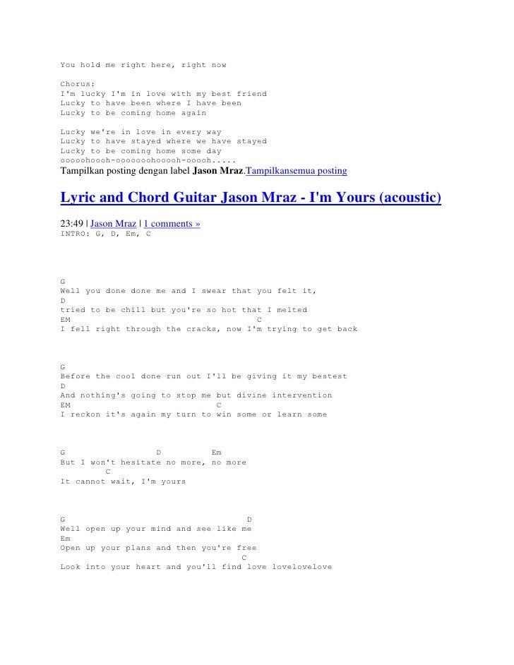 Lyric and chord guitar jason mraz
