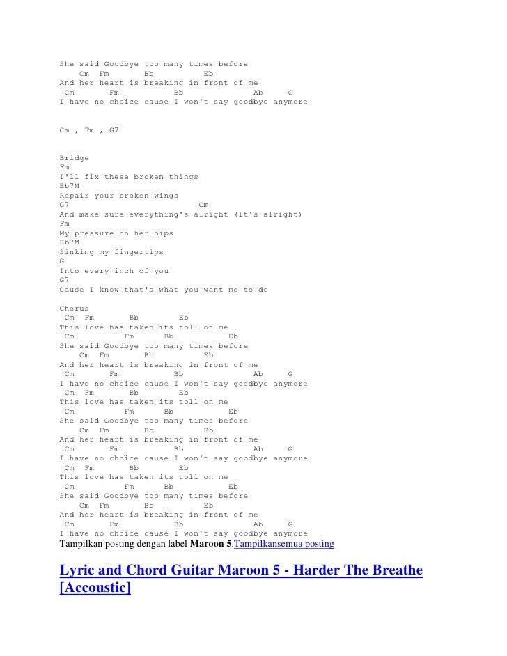 Lyric and chord guitar maroon 5