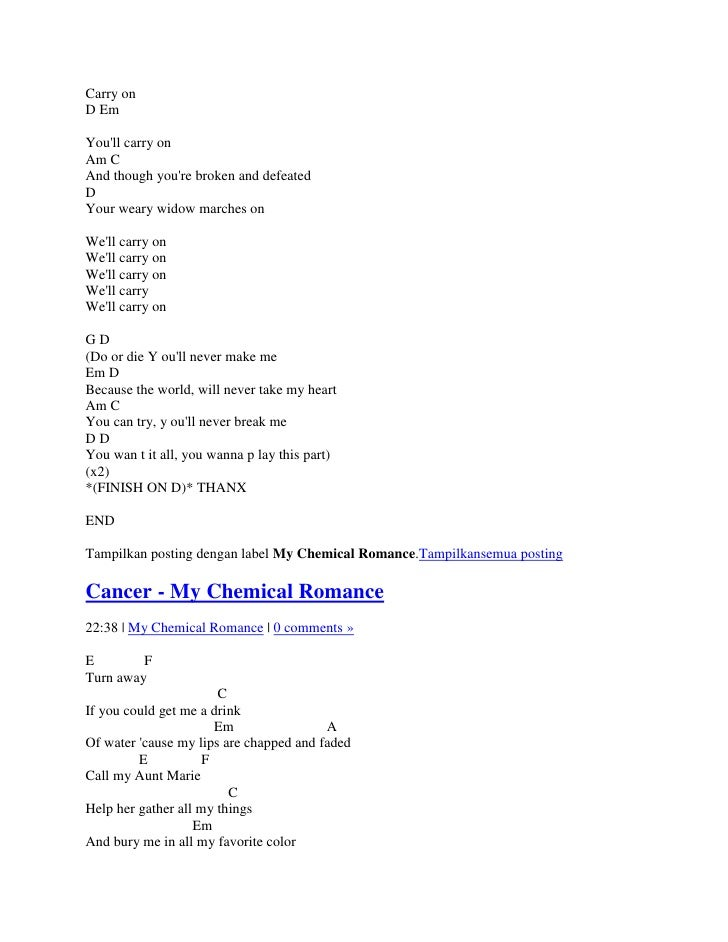 Outstanding Cancer My Chemical Romance Guitar Chords Motif ...