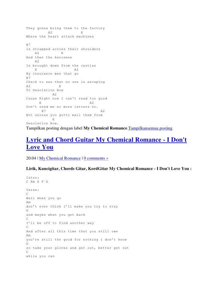 Lyric And Chord My Chemical Romance