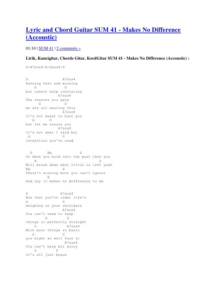 Lyric And Chord Sum41