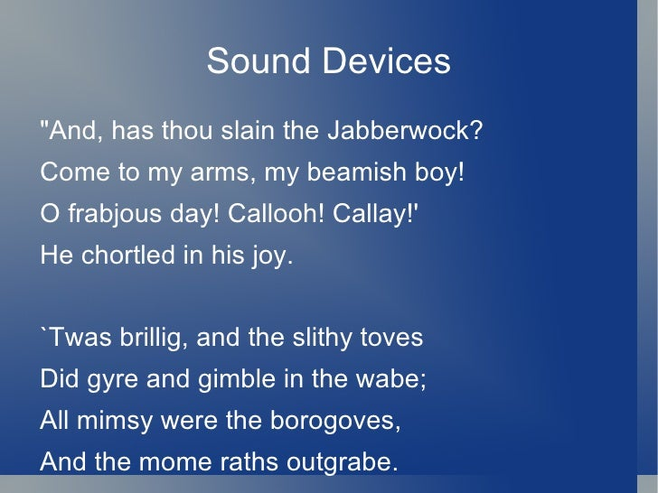 Lyric and Musical Poetry: sound devices