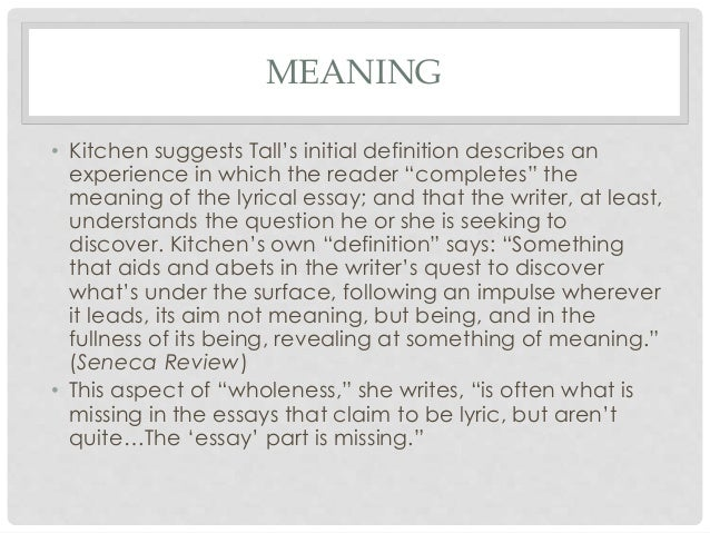 Meaning of lyrical essay