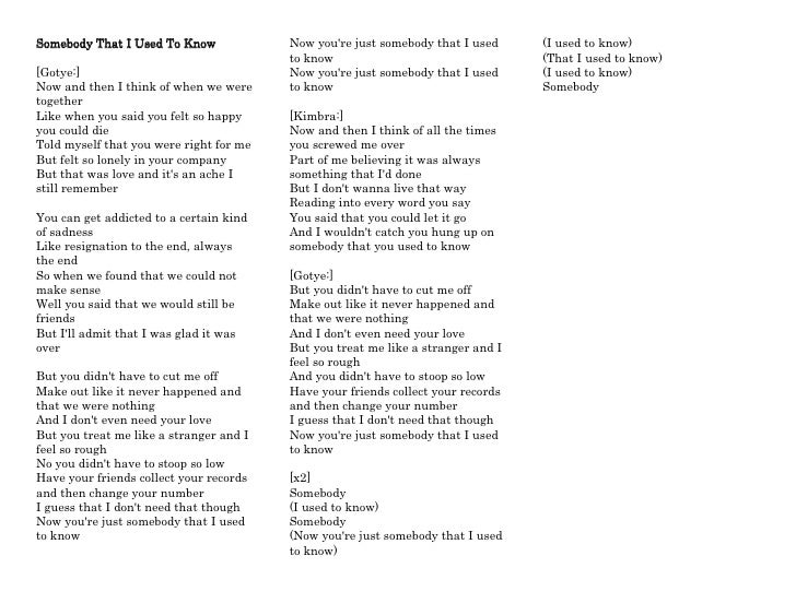 You ll get used to it lyrics