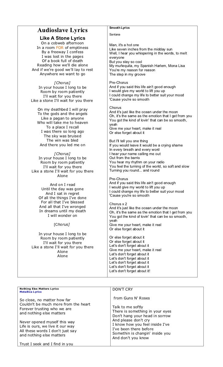 Smooth Lyrics            Audioslave Lyrics                                               Santana             Like A Stone ...