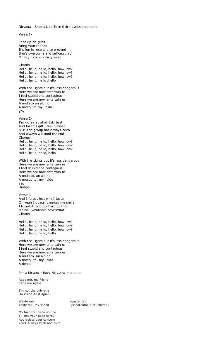 Nirvana Lyrics - Smells Like Teen Spirit