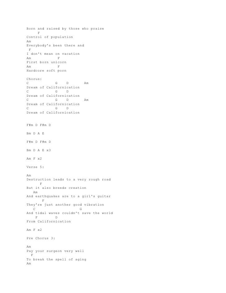 Lyrics adn chords guitar red hot chilli peppers