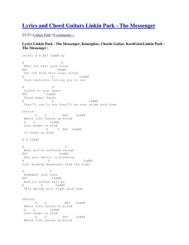 Lyrics and chord guitars linkin park