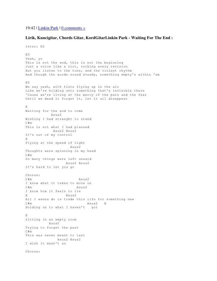 Lirik lagu waiting for the end