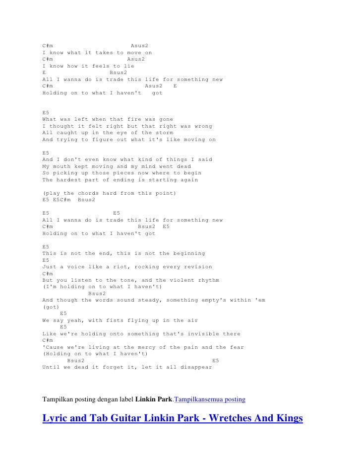 Lyric pick up the pieces lyrics : Lyrics and chord guitars linkin park