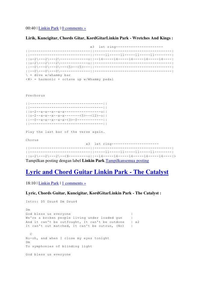 Lyrics And Chord Guitars Linkin Park