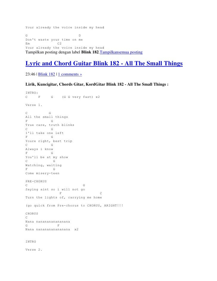Lyrics and chords guitar blink 182