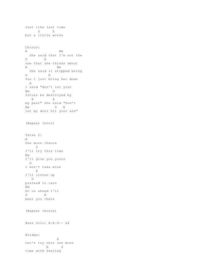 Lyrics And Chords Guitar Blink 182