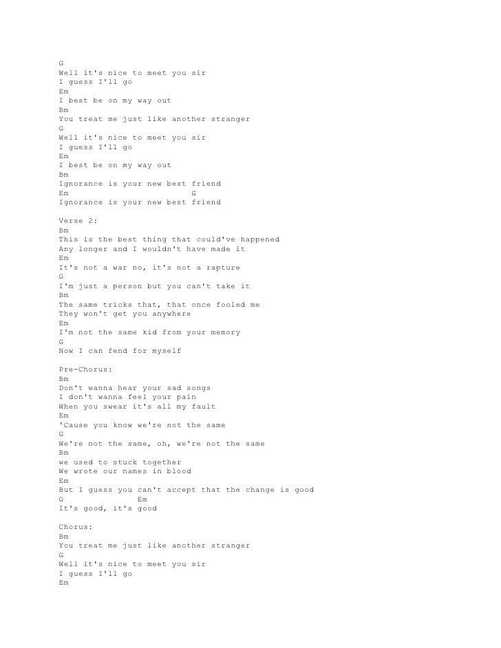 Lyrics And Chords Guitar Paramore