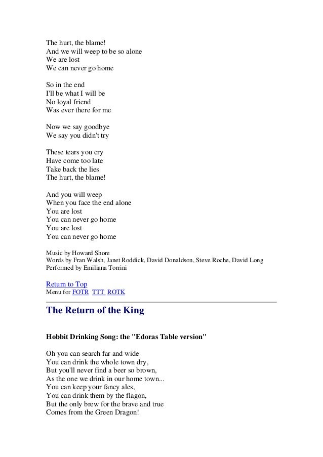 Lord Of The Rings Lyrics Soundtrack