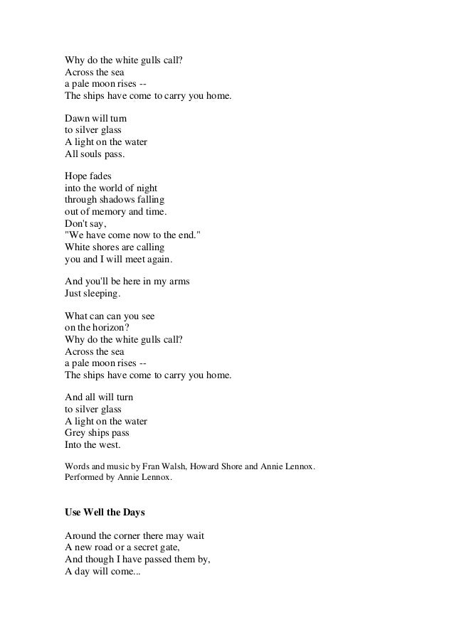 Lyric i am free lyrics : Lord Of The Rings Lyrics Soundtrack