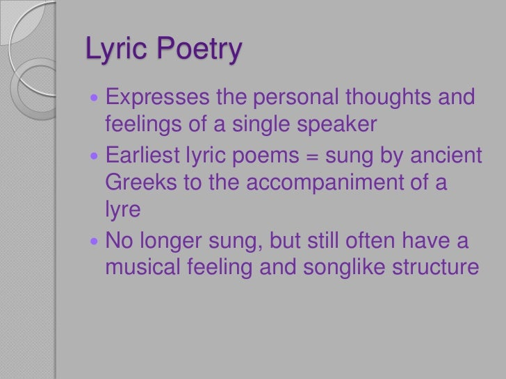 Lyric poetry and wordsworth