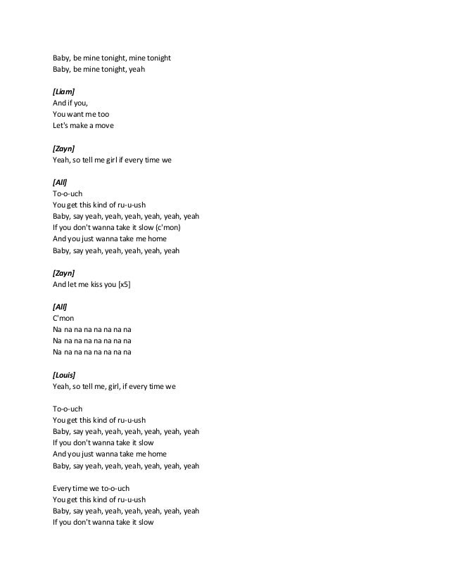Lyrics song one direction