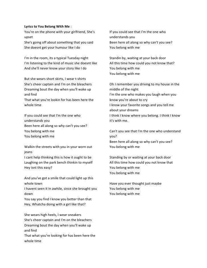 Taylor Swift - You Belong With Me Lyrics | MetroLyrics