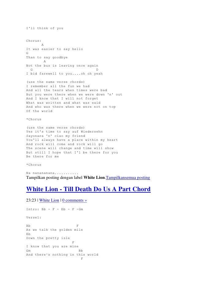 Lyriks Dan Chords Guitar White Lion