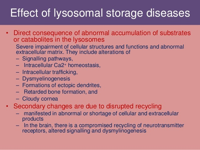 Effect of lysosomal storage diseases • Direct consequence of abnormal accumulation of substrates or catabolites in the lys...