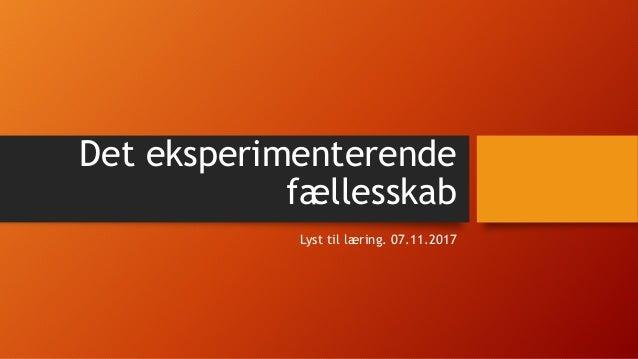 Det eksperimenterende fællesskab Lyst til læring. 07.11.2017