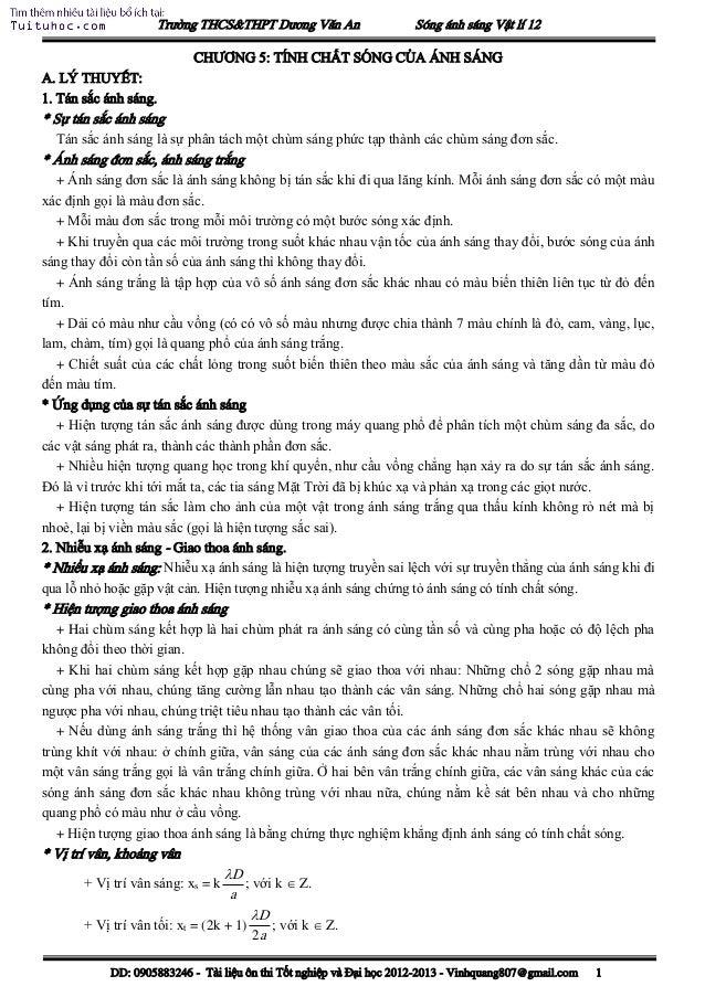 Trường THCS&THPT Dương Văn An Sóng ánh sáng Vật lí 12 DD: 0905883246 - Tài liệu ôn thi Tốt nghiệp và Đại học 2012-2013 - V...