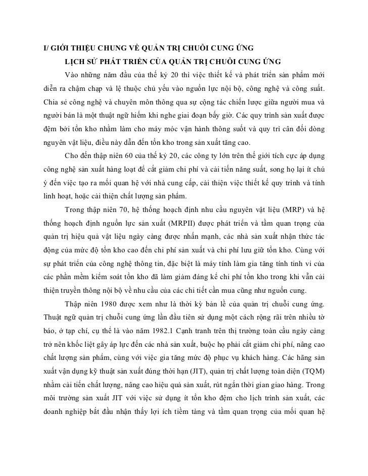 I/ GIỚI THIỆU CHUNG VỀ QUẢN TRỊ CHUỖI CUNG ỨNG      LỊCH SỬ PHÁT TRIỂN CỦA QUẢN TRỊ CHUỖI CUNG ỨNG      Vào những năm đầu ...