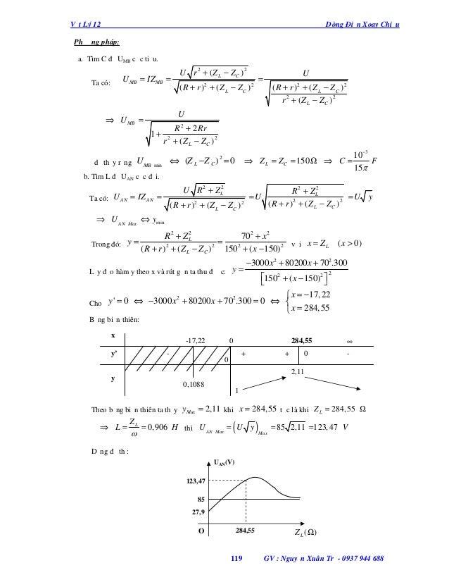 Vật Lý 12  Dòng Điện Xoay Chiều  Phương pháp: a. Tìm C để UMB cực tiểu.  U MB = IZ MB =  Ta có:  U r 2 + ( Z L − ZC ) 2  U...