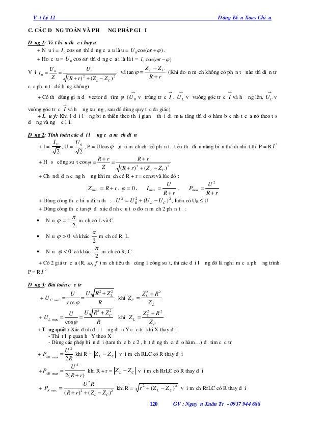 Vật Lý 12  Dòng Điện Xoay Chiều  C. CÁC DẠNG TOÁN VÀ PHƯƠNG PHÁP GIẢI Dạng 1: Viết biểu thức i hay u + Nếu i = I 0 cos t ...