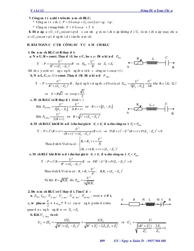 Vật Lý 12  Dòng Điện Xoay Chiều  7. Công suất tỏa nhiệt trên đoạn mạch RLC: * Công suất tức thời: P = UI cos  + U0 cos(2 ...