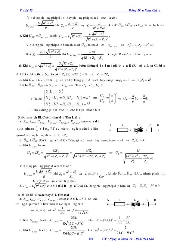 Vật Lý 12  Dòng Điện Xoay Chiều  Vận dụng phương pháp đại số hay phương pháp giản đồ vectơ ta có :  U C Max  2 2   U R...