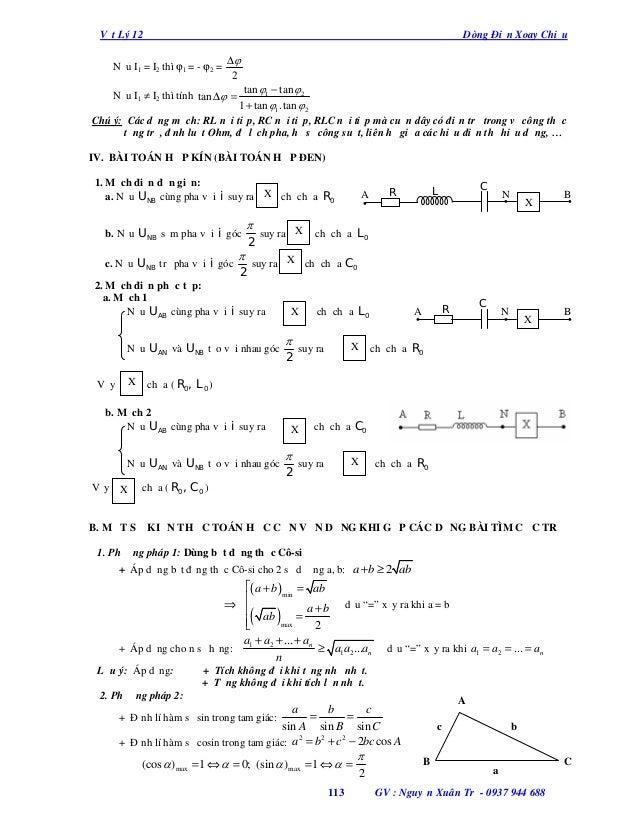 Vật Lý 12  Dòng Điện Xoay Chiều  Nếu I1 = I2 thì ϕ1 = - ϕ2 =  ∆ 2  tan 1 − tan 2 1 + tan 1.tan  2 Chú ý: Các dạng mạc...