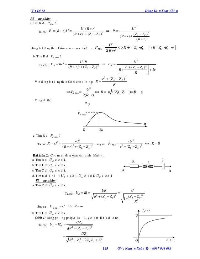 Vật Lý 12  Dòng Điện Xoay Chiều  Phương pháp: a. Tìm R để P Max ? 2 Ta có : P = ( R + r ) I =  U 2 (R + r ) ⇒ P = (R + r)2...