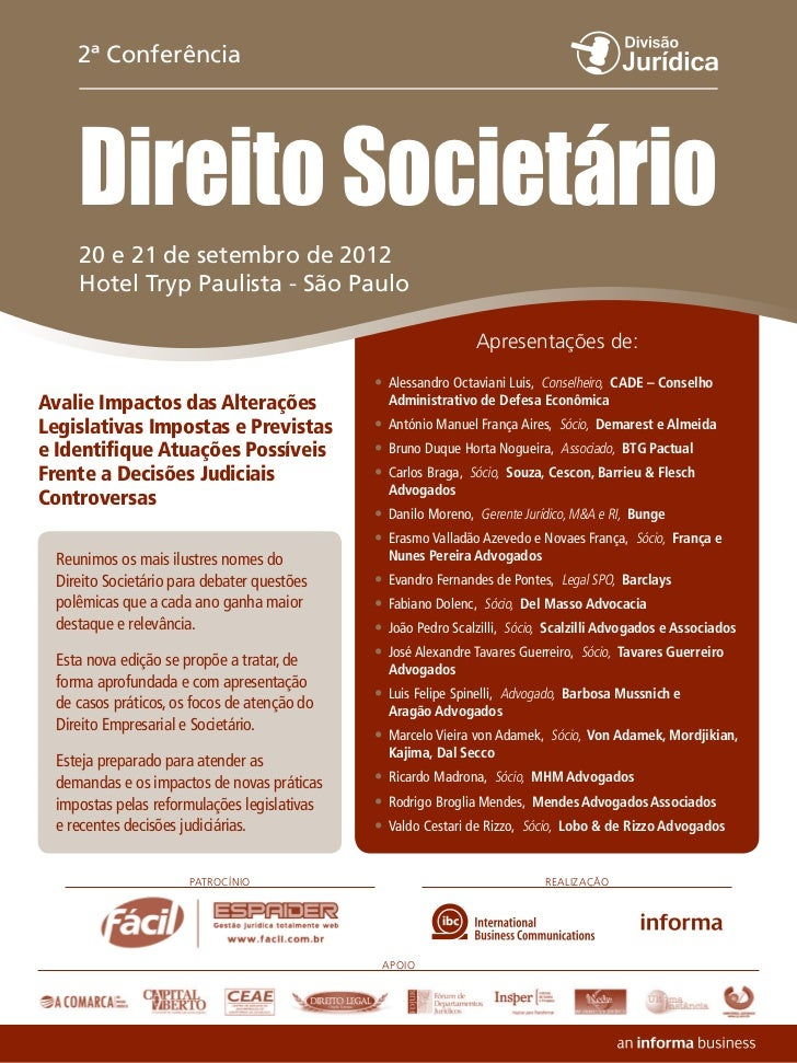 2ª Conferência     Direito Societário     20 e 21 de setembro de 2012     Hotel Tryp Paulista - São Paulo                 ...