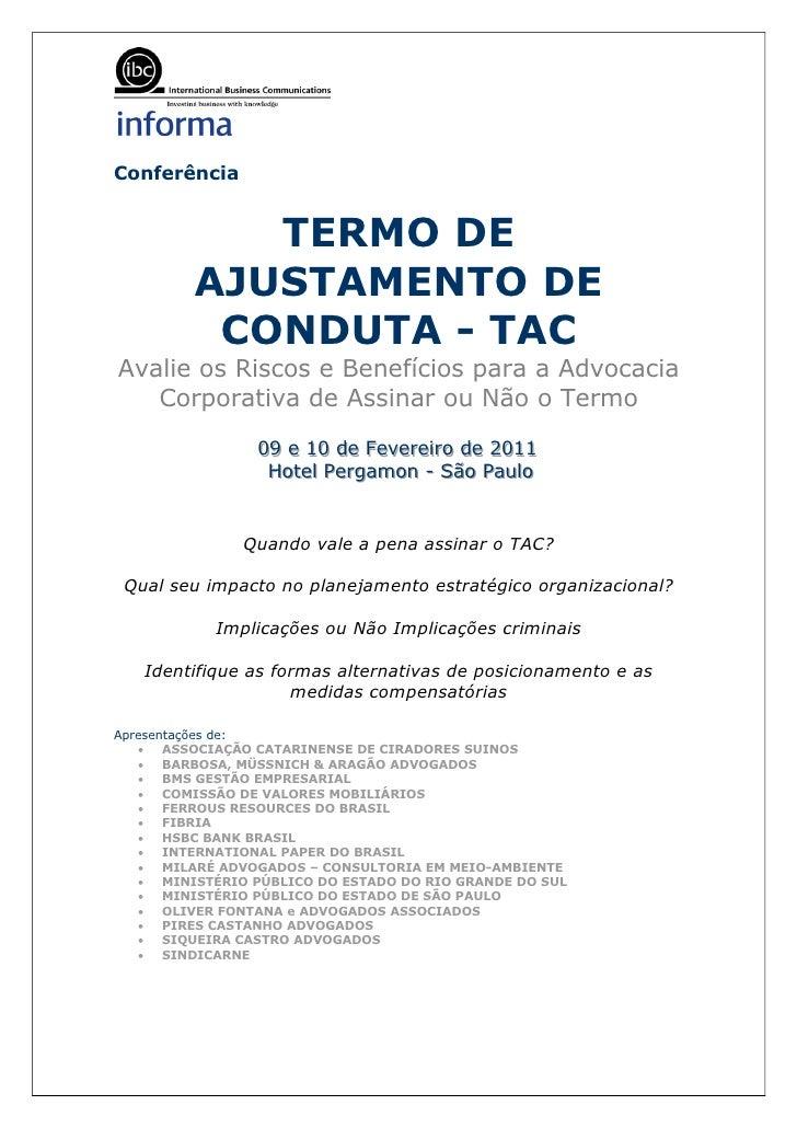 Conferência            TERMO DE         AJUSTAMENTO DE          CONDUTA - TACAvalie os Riscos e Benefícios para a Advocaci...