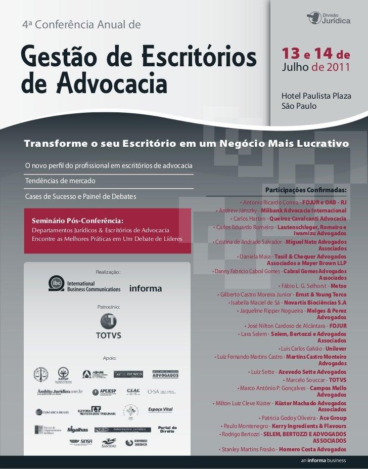 4ª Conferência Anual deGestão de Escritórios                                                                       13 e 14...