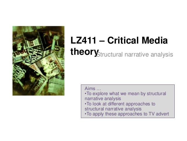 LZ411 – Critical Media theory Structural narrative analysis  Aims … •To explore what we mean by structural narrative analy...