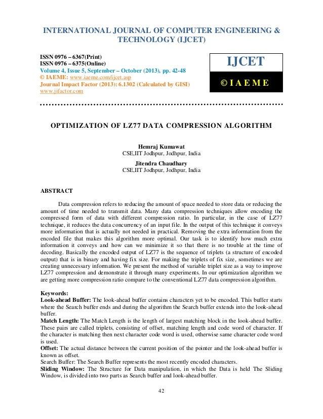 OPTIMIZATION OF LZ77 DATA COMPRESSION ALGORITHM