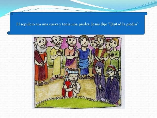 """Jesús gritó fuerte """" ¡Lázaro , sal fuera!"""". Y salió elmuerto, atado de pies a manos."""