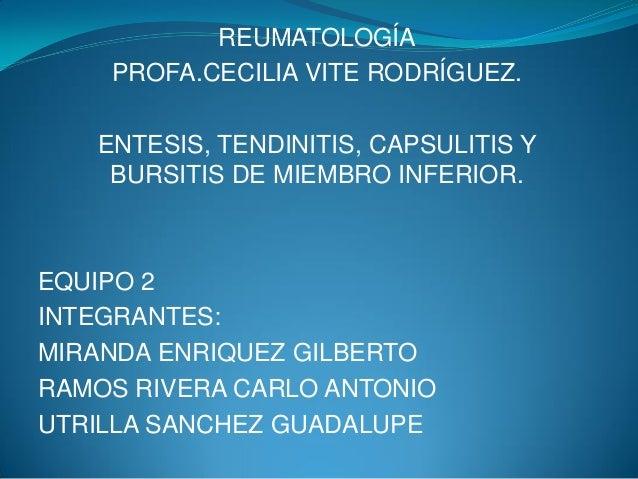 REUMATOLOGÍA PROFA.CECILIA VITE RODRÍGUEZ. ENTESIS, TENDINITIS, CAPSULITIS Y BURSITIS DE MIEMBRO INFERIOR. EQUIPO 2 INTEGR...