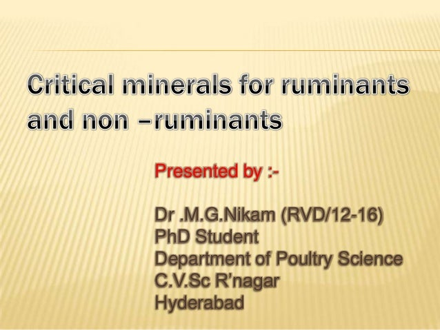 Presented by :- Dr .M.G.Nikam (RVD/12-16) PhD Student Department of Poultry Science C.V.Sc R'nagar Hyderabad